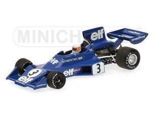 MINICHAMPS 400740003 TYRRELL FORD 007 J. SCHECKTER WINNER SWEDISH GP 1974 Modellino
