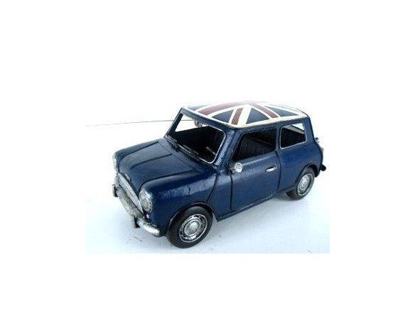 Tinplate 1625 MINI COOPER '60 BLUE+BRITISH FLAG Modellino