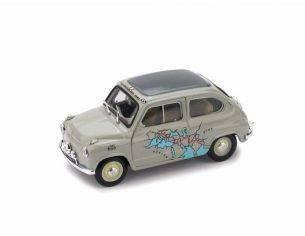 Brumm BM0443 FIAT 600 RAID CALCUTTA-ROMA 1955 Km 13260 MARTIGNONI-RABEZZANA 1:43 Modellino