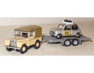 Bub 09602 LANDY + TRAILER + MINI COOPER 1/87 Modellino