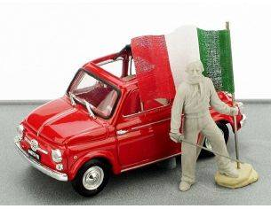 Brumm BMAS150 FIAT 500 Rossa con Garibaldi 150 unità 1:43 Modellino