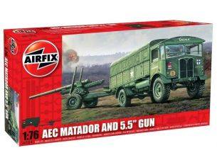 AIRFIX A01314 AEC Matador And 5.5 Gun 1:76 kit militari Modellino