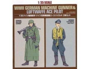 Tamiya TA89641 WWII German Machine Gunner & Luftwaffe Ace Pilot kit Modellino