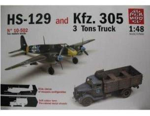 Super Model 10502 HS-129 & Kfz. 305 3 Tons Truck kit militari 1:48 Modellino
