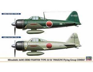 Hasegawa Hobby Kits 00949 MITSUBISHI A6M3 ZERO FIGHTER TYPE 22/32 1/73 KIT DI MONTAGGIO Modellino
