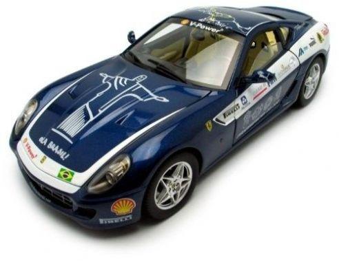 Hot Wheels L7125 FERRARI 599 GTB FIORANO PANAMERICAN TOUR 2006 BLUE 1:18 Modellino
