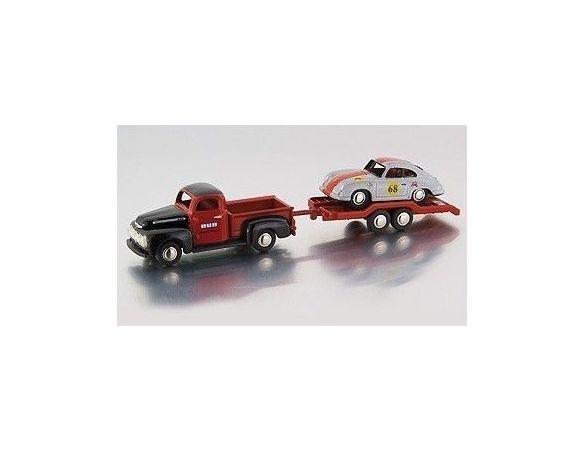 Bub 09302 FORD F100 PICK-UP+TRAILER+PORSCHE 1:87 Modellino