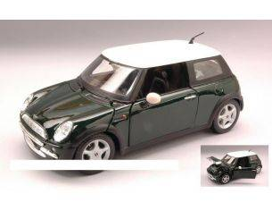 Maisto MI31219 NEW MINI COOPER 2002 GREEN W/WHITE ROOF 1:24 Modellino