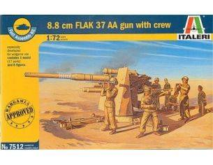Italeri IT7512 8,8 cm FLAK 37 GUN W/CREW KIT 1:72 Modellino