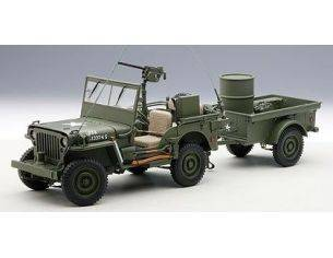 Auto Art / Gateway AA74016 JEEP WILLYS WITH TRAILER & ACCESSORIES 1:18 Modellino