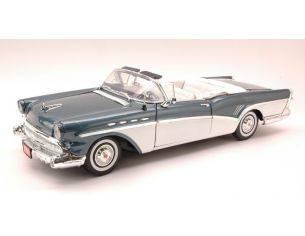 Motormax MTM73152BW BUICK ROADMASTER 1957 METALLIC BLUE/WHITE 1:18 Modellino