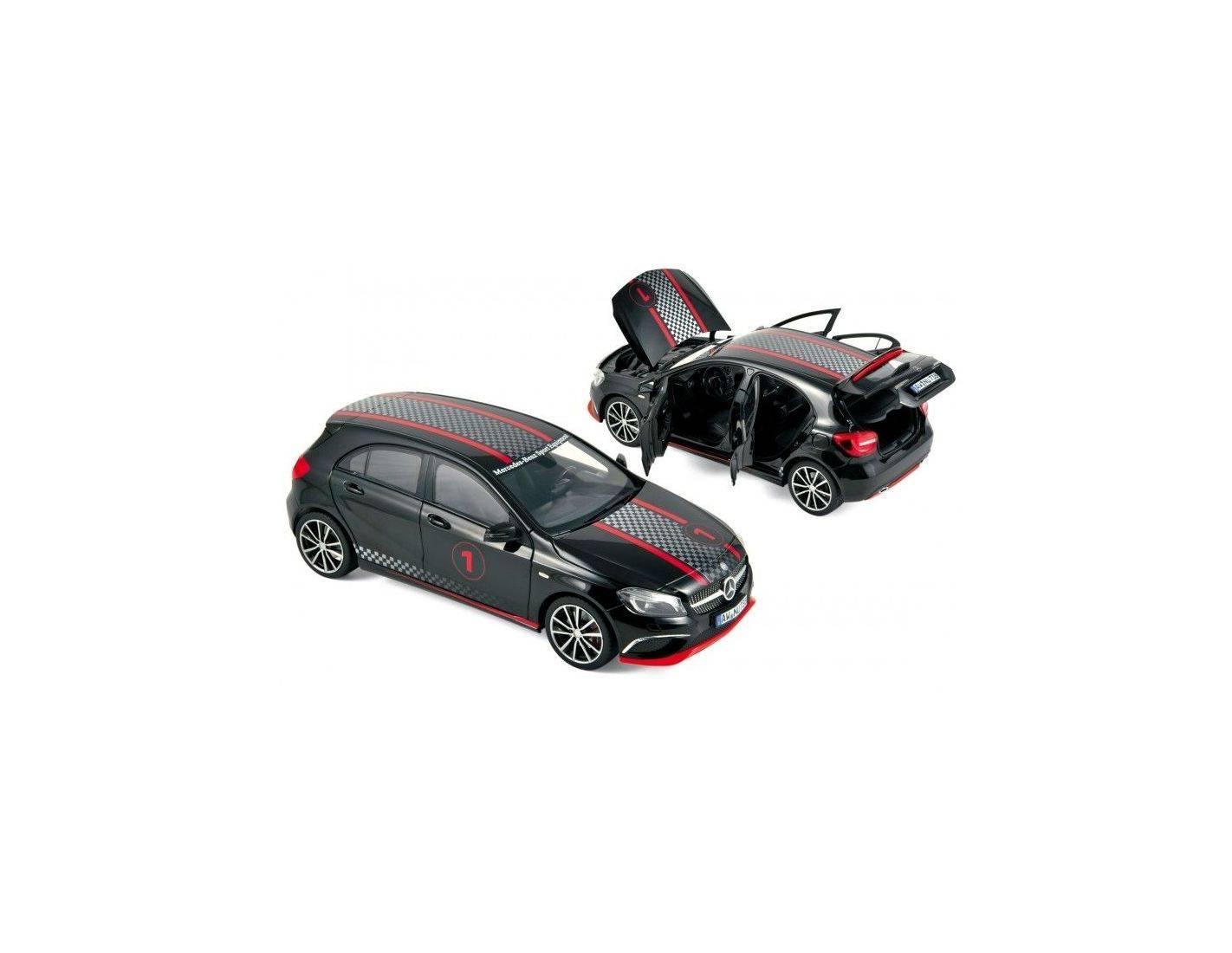 norev nv183596 mercedes a klasse sport equipment 2013 black w racing deco 1 18 modellino. Black Bedroom Furniture Sets. Home Design Ideas