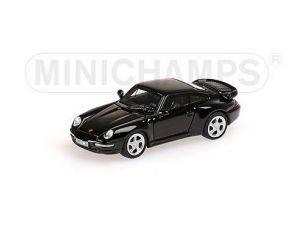 Minichamps PM877069200 PORSCHE 911 993 TURBO 1995 BLACK 1:87 Modellino