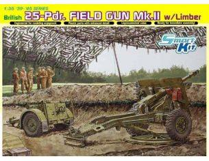 Dragon D6774 BRITISH 25 PDR FIELD GUN MK.II KIT 1:35 Modellino