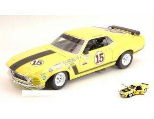 Welly WE2527 FORD MUSTANG BOSS 302 N.15 GEORGE FOLLMER 1970 YELLOW 1:18 Modellino