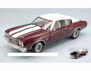 Auto World AMM1011 CHEVROLET CHEVELLE SS 1970 BURN RED/WHITE 1:18 Modellino