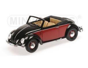 Minichamps PM107054230 VW 1200 CABRIOLET HEBMUELLER 1949 BLACK & RED 1:18 Modellino