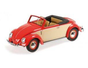 Minichamps PM107054231 VW 1200 CABRIO HEBMUELLER 1949 RED/CREAM 1:18 Modellino