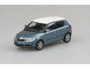 Abrex AB008CEW SKODA FABIA II 2007 SATIN GREY MET.WITH WHITE ROOF 1:43 Modellino