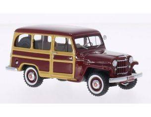Neo Scale Models NEO44644 JEEP WILLYS STATION WAGON DARK RED/WOOD 1:43 Modellino