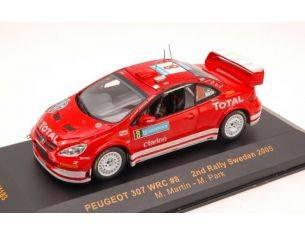 Ixo model RAM183 PEUGEOT 307 WRC N.8 2nd SWEDEN 2005 MARTIN-PARK 1:43 Modellino