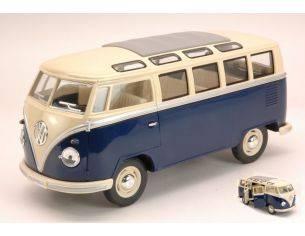 KINSMART KT7005WB VW SAMBA BUS 1962 BLUE/CREAM ROOF 1:24 Modellino