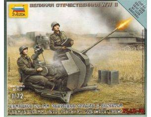 Zvezda Z6117 GERMAN 20 mm ANTI AIRCRAFTGUN  W/2 CREW KIT 1:72 Modellino