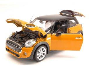 Welly WE8050OR NEW MINI HATCH 2015 ORANGE W/BLACK ROOF 1:18 Modellino