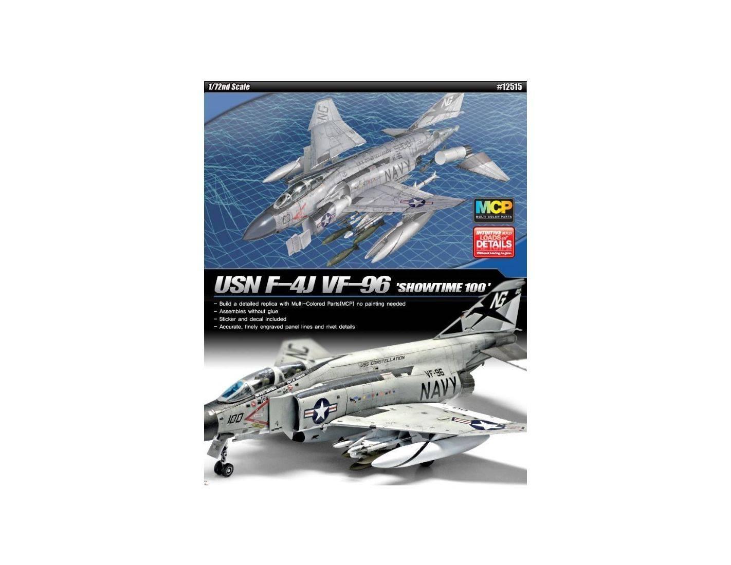 Accademy ACD12515 AEREO USN F-4J VF-96 SHOWTIME 100 KIT 1:72 Modellino