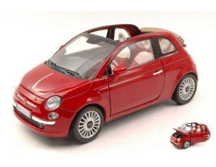 Motormax MTM79164R FIAT NUOVA 500 CABRIO 2007 RED 1:18 Modellino