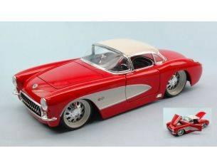 Jada JADA96806RW CHEVY CORVETTE 1957 RED W/WHITE WHEELS 1:24 Modellino