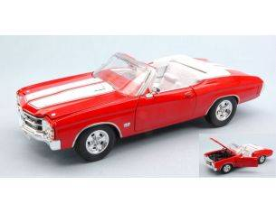 Welly WE2089R CHEVROLET CHEVELLE SS 454 1971 RED W/WHITE STRIPES 1:24 Modellino