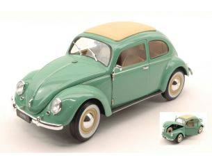 Welly WE18040GR VW CLASSIC BEETLE SOFT TOP 1950 PASTEL GREEN 1:18 Modellino