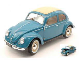 Welly WE18040BL VW CLASSIC BEETLE SOFT TOP 1950 PASTEL BLUE 1:18 Modellino