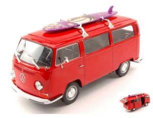 Welly WE4722R VW T2 BUS W/SURFBOARD 1972 RED 1:24 Modellino