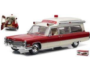 Greenlight GREEN18003 CADILLAC s&s 1966 HIGH TOP AMBULANCE RED/WHITE 1:18 Modellino