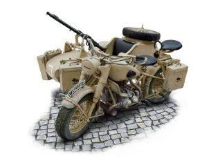 Italeri IT7403 BMW R75 GERMAN MILITARY MOTOR W/SIDECAR KIT 1:9 Modellino