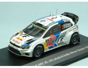 White Box WBR024 VW POLO R WRC N.2 WINNER SWEDEN RALLY 2014 J-M.LATVALA-M.ANTTILA 1:43 Modellino