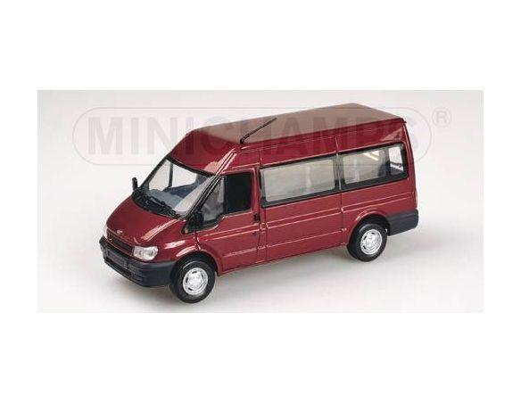 MINICHAMPS 430089400 FORD TRANSIT 2000 PULMINO BUS RED METALLIC Scatola Rovinata Modellino