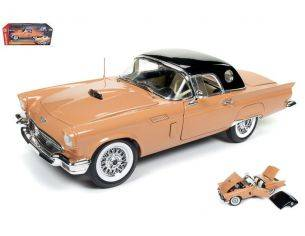Auto World AMM1098 FORD THUNDERBIRD CONVERTIBLE 1057 60th ANNIVERSARY CORAL SAND 1:18 Modellino