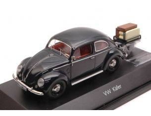 Schuco SH3894 VW KAFER BLACK + TRAILER LIM.750 1:43 Modellino
