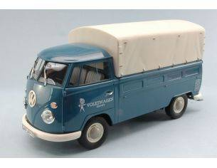 Premium Classixx PREM30070 VW T1 FLATBED PLATFORM TRAILER 1964 COVER REMOVABLE LIGHT BLUE 1:18 Modellino