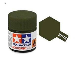 Tamiya Mini XF-74 Olive Drab 10ml Acrylic Color per modellismo