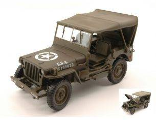 Welly WE18036H JEEP WILLYS U.S. ARMY CLOSED MATT OLIVE 1:18 Modellino