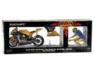 Minichamps PM123063096 YAMAHA V.ROSSI 2006 + FIGURE WINNER GERMANY DIRTY VERSION 1:12 Modellino