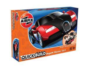 Airfix AX6020 QUICK BUILD BUGATTI VEYRON 16.4 BLACK/RED Modellino