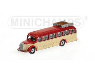 MINICHAMPS 169038080 BUS MERCEDES BENZ O 6600 1950 RED & CREAM Modellino