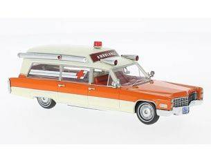 Neo Scale Models NEO49539 CADILLAC S&S WHITE/ORANGE AMBULANCE 1966 1:43 Modellino
