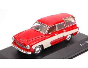 White Box WB264 WARTBURG 312 CAMPING 1960 RED/CREAM 1:43 Modellino