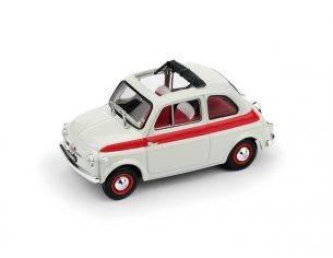Brumm BM0603 FIAT 500 1959 TETTO APRIBILE SPORT 2a SERIE APERTA BIANCO/ROSSO 1:43 Modellino